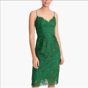 J. Crew Spaghetti Strap Dress in Lace Green
